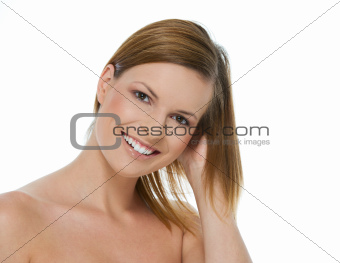 Beauty portrait of smiling girl isolated on white