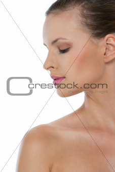 Beauty portrait of girl in profile isolated on white