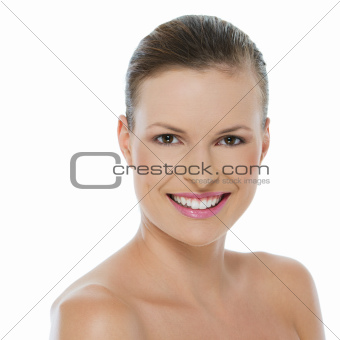 Beauty portrait of smiling young woman isolated on white