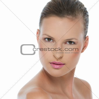 Beauty portrait of young woman isolated on white
