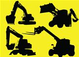 Construction vehicles silhouettes