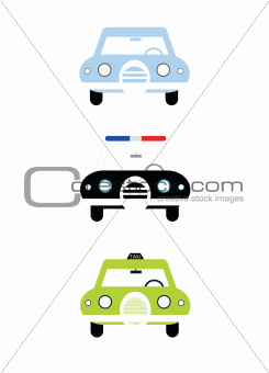 City cars front view illustration