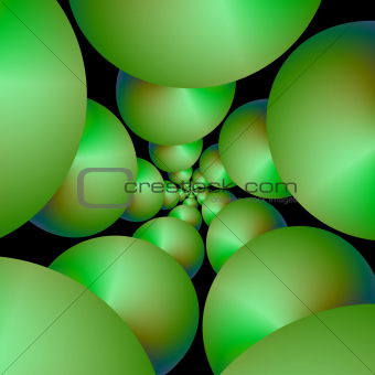 Green Spheres on Black