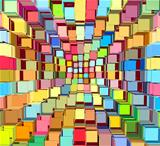 3d abstract fragmented bright colored pattern