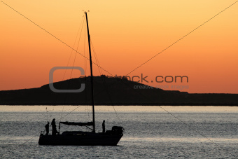 Yacht silhouette at sunset
