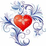 Red Heart With Blue Floral Ornaments