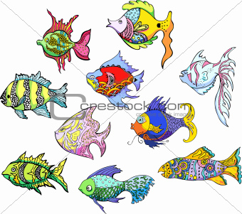 Motley tropical fish