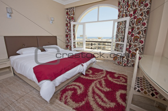 Bedroom in a hotel suite