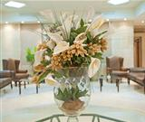 Flower display in a hotel lobby