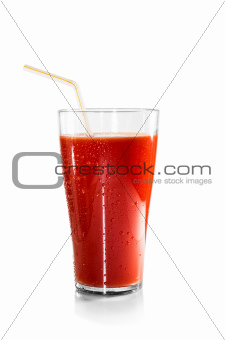 Bloody Mary over white background. Glass of tomato juice and a straw