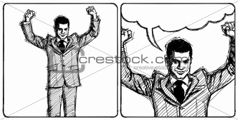 Sketch businessman with hands up