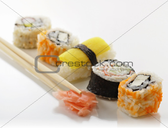 various of sushi 