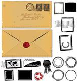 Old envelope and postage stamp set