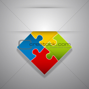 Attach colorful creative puzzle sticker.