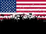Party crowd on an American flag background