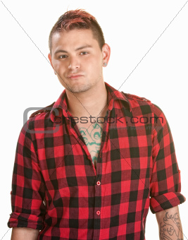 Annoyed Male in Flannel Shirt