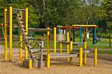 Sand and water playground in park
