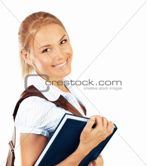 Portrait of beautiful happy student female