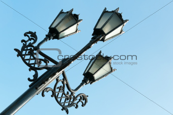 Antique metal street lamp