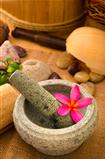 tropical spa with frangipani flowers
