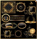 Vector set of vintage framed black and gold labels