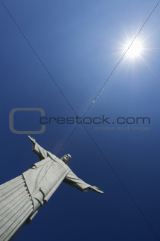 Corcovado Christ the Redeemer Blue Sky Sun Vertical