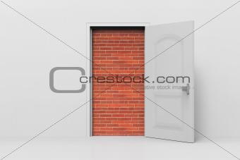Doorway blocked by a brick walls