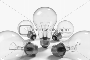 Lamps on white background