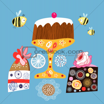 bright decorative cakes