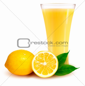 Fresh lemon and glass with juice. Vector
