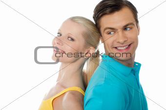 Beautiful young couple in love, posing
