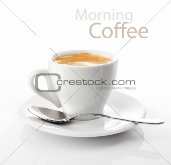 cup morning coffee on saucer