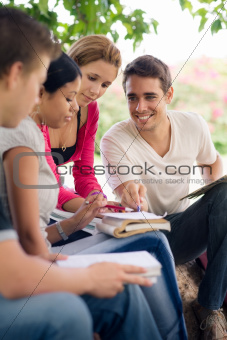 college students doing homeworks in park