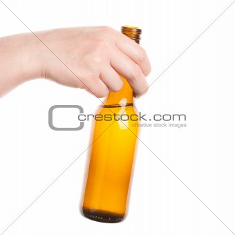 Beer bottle in the hand