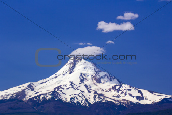 Mount hood with Smoke Stack Clouds