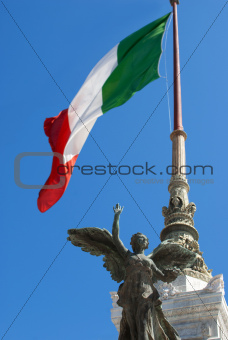 Italian Flag Agaist Blue Sky
