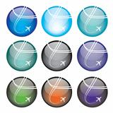 Vector illustration of coloured glossy and shiny airplane sphere icon.