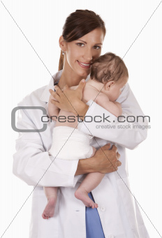 female doctor and a baby