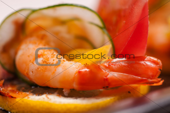 colorful  prawn shrimps appetizer snack