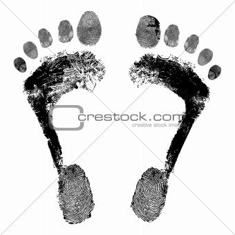 Footprint grunge detailed vector image