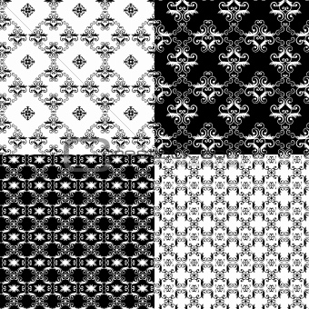Set of Damask seamless floral pattern