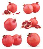 Set of ripe pomegranate fruits