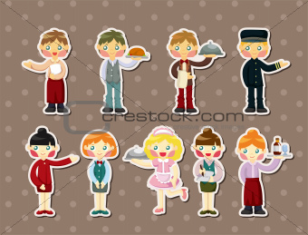 cartoon waiter and waitress stickers