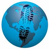 vector concept of global footprint