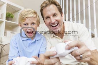 Man and Boy, Father & Son, Playing Video Console Games