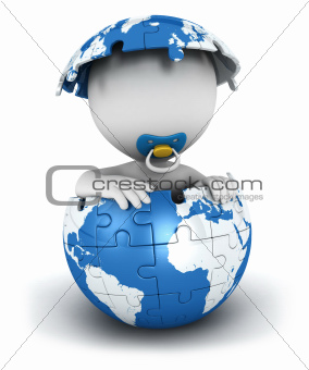 3d white people baby inside puzzle earth