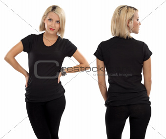 Blond woman with blank black shirt
