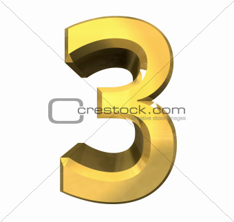 3d number 3 in gold