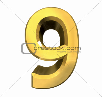 3d number 9 in gold