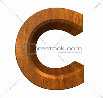 3d letter C in wood
